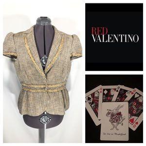 Valentino Red Tweed Blazer Jacket IT 50 US 14